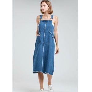 Denim Jean Overalls Midi Jumper Dress